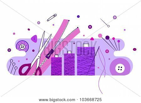 Abstract illustration with knitting and sewing accessories, purple