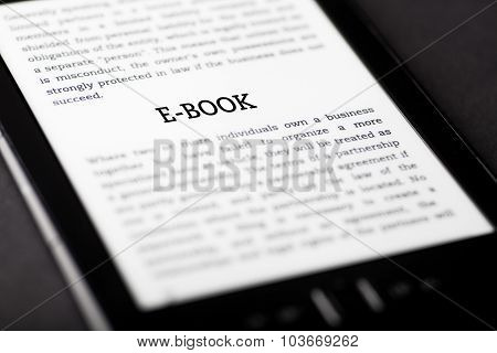 E-book On Tablet Touchpad, Ebook Concept