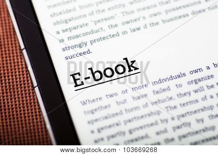 E-book On Tablet Screen, Ebook Concept