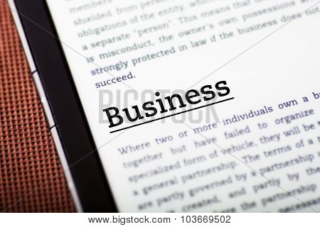 Business On Tablet Screen, Ebook Concept