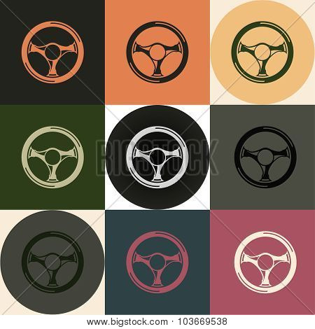 Driving wheel icons