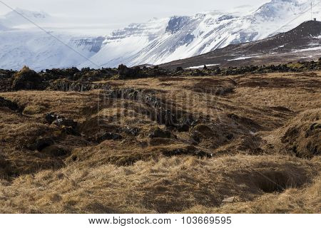 Snowy Volcanic Landscape At Peninsula Snaefellsness, Iceland