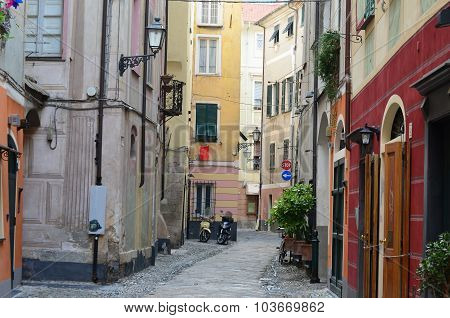 View Of The Historical Streets Of The Town Of Finalborgo, Liguria