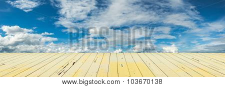 Panorama Image Of Blue Sky With White Cloud For Background Usage.
