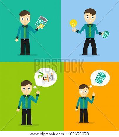 Set of cute cartoon young businessmen. Idea concept and finance report graph. flat design