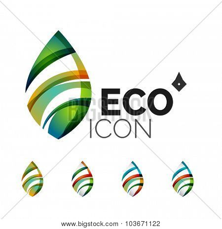 Set of abstract eco leaf icons, business logotype nature concepts, clean modern geometric design. Created with transparent abstract wave lines