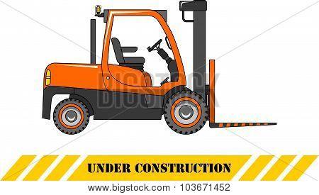 Forklift. Heavy construction machines. Vector illustration