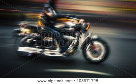 Motorcyclist In Motion Blur