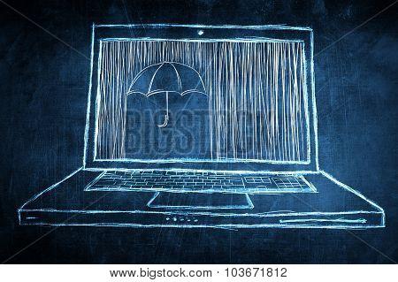 Sketch Netbook Computer Screen Concept With Umbrella Protection Symbol
