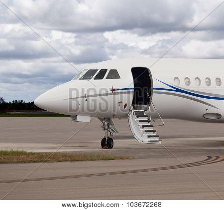 Close view of the front of a private jet