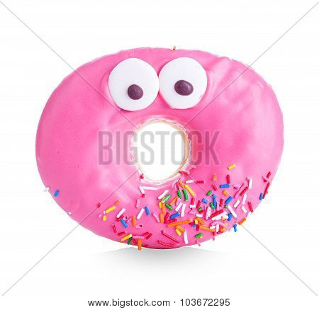 Donut close-up isolated on a white background