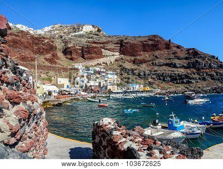 Boats at Amoudi port of Oia town on Santorini island