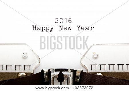 Happy New Year 2016 Typewriter