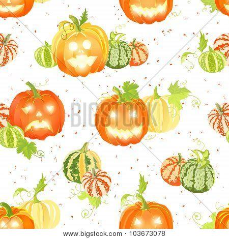 Pumpkin Harvest And Halloween Decorations Seamless Vector Pattern