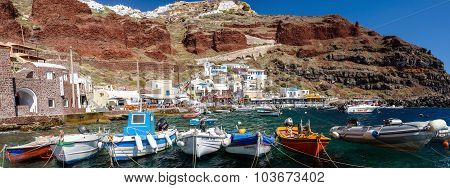 Boats at Amoudi port of Oia town on Santorini island