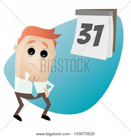 funny cartoon businessman with calendar