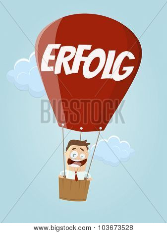 funny businessman in balloon with german word for success