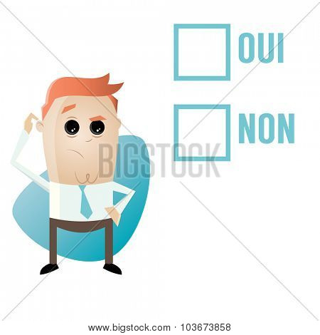 thoughtful man and checkboxes with french words meaning yes and no