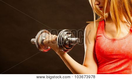 Fitness Sporty Girl Lifting Weights