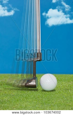 Close up of a golfer's putter