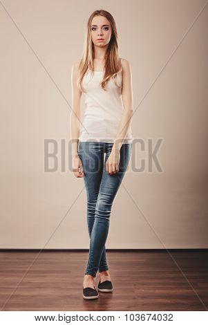 Girl Full Length In Denim Trousers White Blank