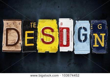 Design Word On Vintage Car License Plates, Concept Sign