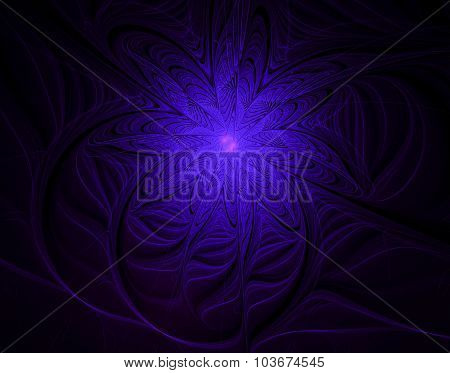 Abstract Fractal Flower With Light