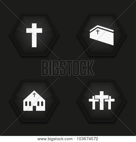 Vector modern religion icons set