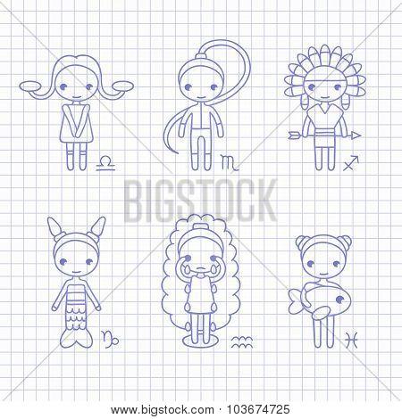 vector zodiac signs Libra, Scorpio, Sagittarius, Capricorn, Aquarius, Pisces