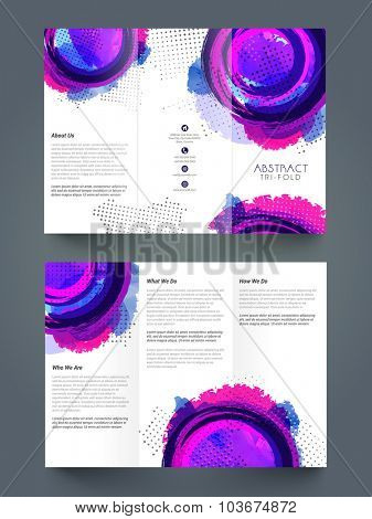 Two page presentation of abstract Trifold Brochure, Template or Flyer design for your Business.