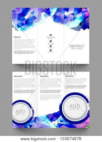 Creative abstract Trifold Brochure, Template or Flyer design with two sided presentation and space to add images for Business.