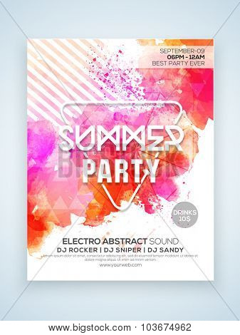 Creative stylish Summer Party celebration one page Flyer, Banner or Template with date and time details.