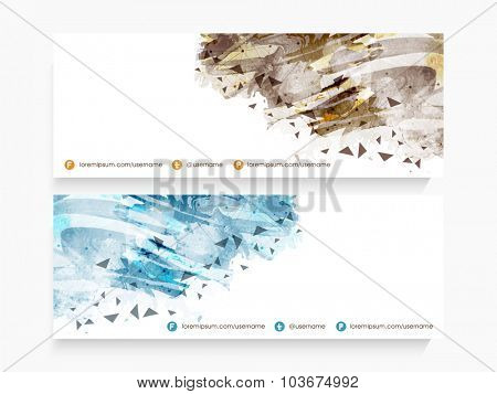 Glossy website header or banner set decorated with creative abstract design.