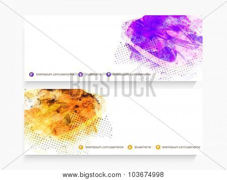 Abstract design decorated, glossy website header or banner set with space for your text.