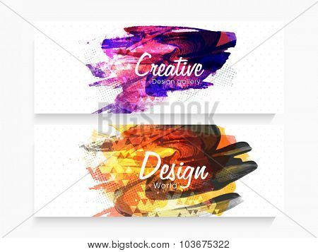 Creative website header or banner set with colorful abstract design.