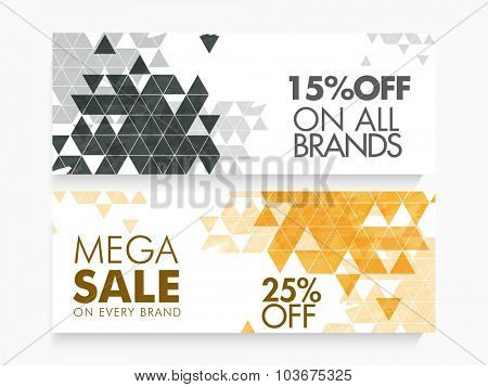 Abstract website header or banner set of Mega Sale with special discount offer.