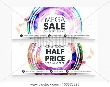 Creative abstract website header or banner set of Mega Sale with Half Price offer for limited time.