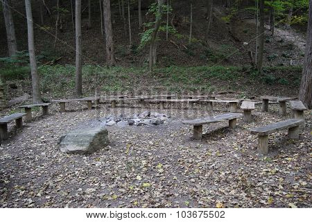 benches surround a fire pit