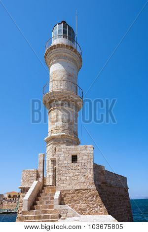 Lighthouse of Chania town on Crete island, Greece