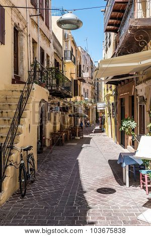 View of small street in Chania on Crete island