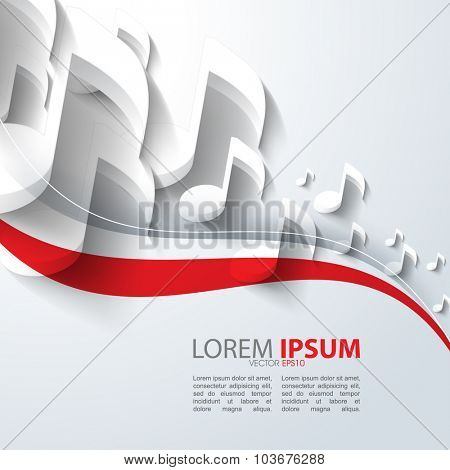 eps10 vector music note background design with bent wave red outline elements