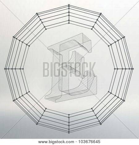 Vector illustration of letter E. Fonts of Mesh polygonal. Wire frame contour alphabets. Abstract cre