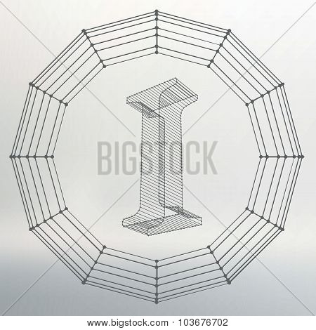 Vector illustration of letter I. Fonts of Mesh polygonal. Wire frame contour alphabets. Abstract cre