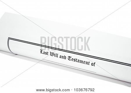 Last Will And Testament Rolled