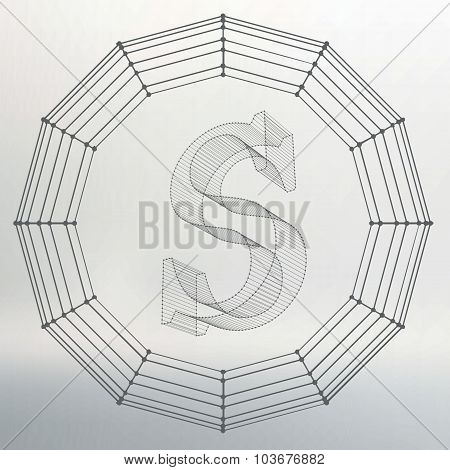 Vector illustration of letter S. Fonts of Mesh polygonal. Wire frame contour alphabets. Abstract cre