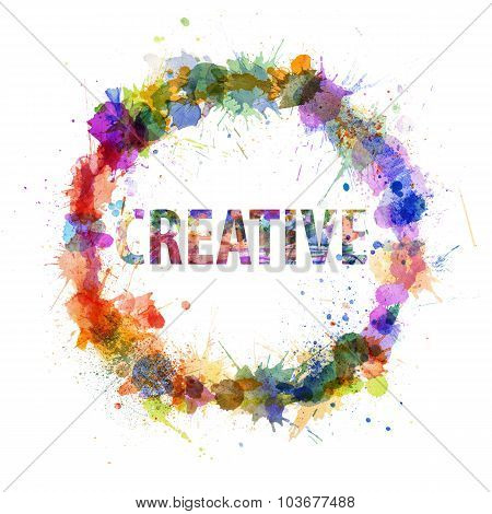 Creative Concept, Watercolor Splashes As A Sign