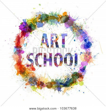 Art School Concept, Watercolor Splashes As A Sign