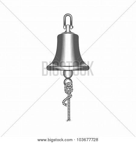 Black and white vector illustration ship bell