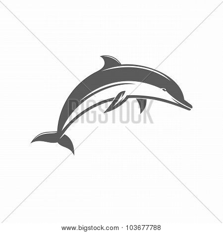 Black and white vector illustration jumping dolphins