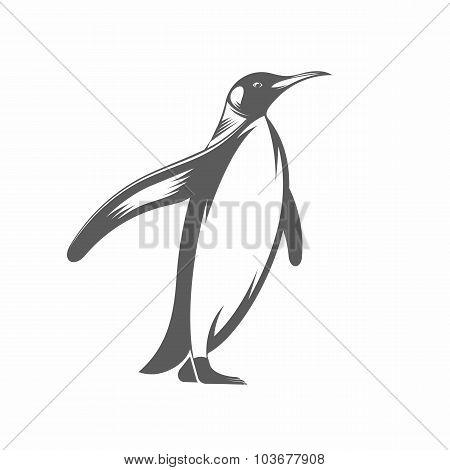 Penguin vintage vector illustration